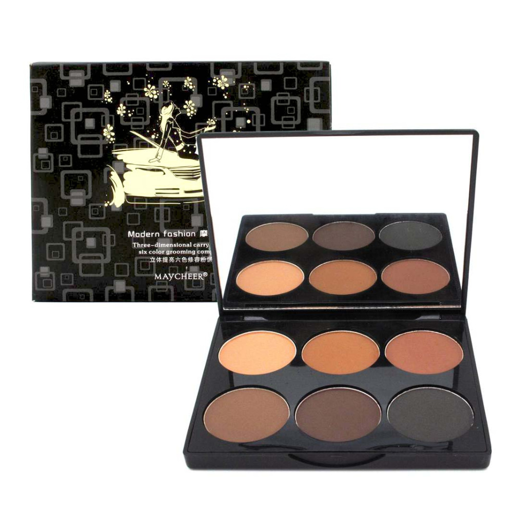 Brand New 6 Colors Make up highlight and contour Powder Palette Cosmetic Facial Makeup Pressed Powder 3Styles <br><br>Aliexpress