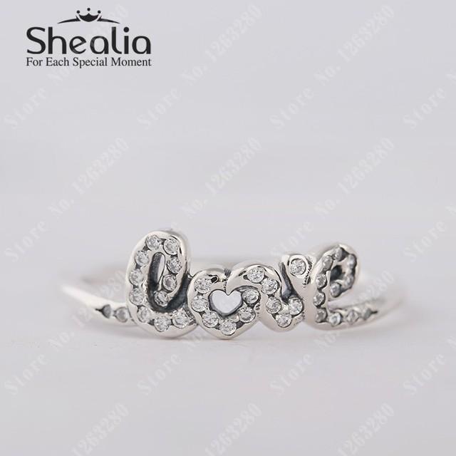 Подпись влюбленность кольца с прозрачный CZ вымостите кольцо для женщины 925 чистое серебро помолвка кольца модное Shealia ювелирные изделия
