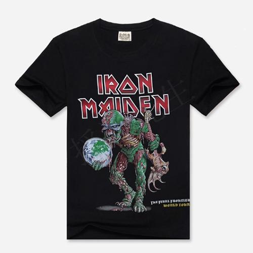 Mens Black 3D Iron Maiden Print T Shirt Men T-shirt Novelty Streetwear Man Tshirt Music Band Clothing Rock Big Size Clothes US(China (Mainland))