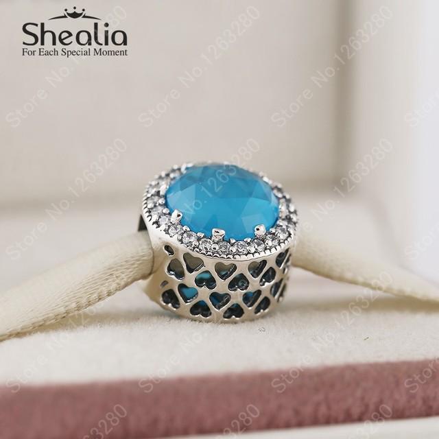 2015 зима новый радиант-линия сердца подвески с голубой и ясно CZ оригинал 925 ювелирных украшений подходят DIY браслеты BD299
