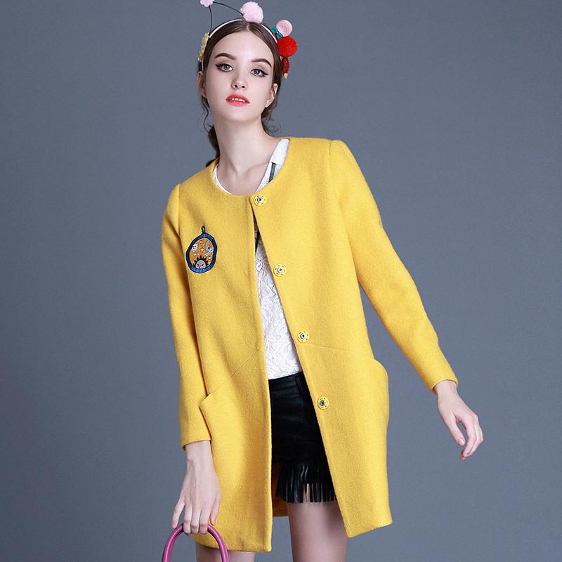 Fashion Winter Wool Coat Women Cartoon Embroidered Long Parkas Jacket Women's Clothing Single-Breasted Blends Woolen Coat C1409