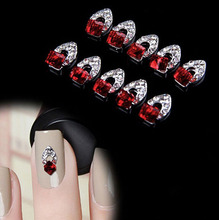 Charming 10Pcs Dark Red Square 3D Rhinestone Crystal Silver Alloy DIY Stickers Tips Nail Art Decorations Jewelry NA703