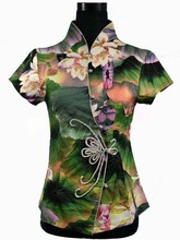 New Arrival Green Women's Cotton Button Shirt Tops Slim Elegant Flower Blouse Chinese Tang Suit S M L XL XXL XXXL 4XL 2984(China (Mainland))