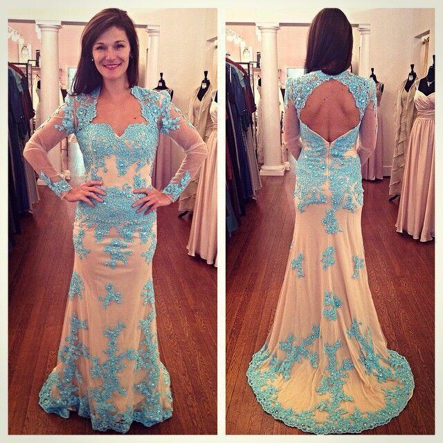 Long lace prom dresses open back