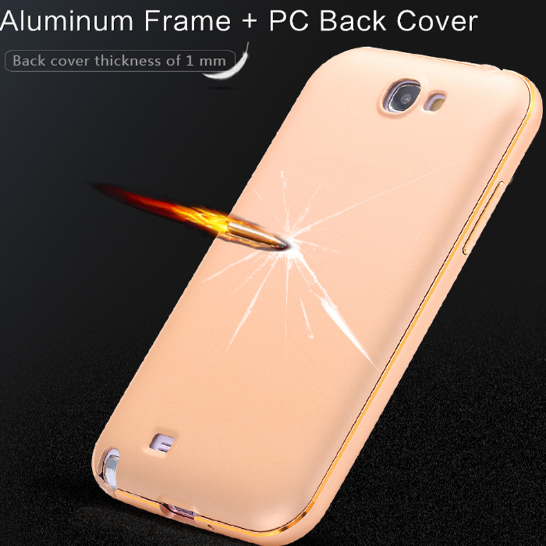 Note 2 Dual Hybrid Metal Aluminum Frame+ 1mm PC Back Case Capa For Samsung Galaxy Note 2 II N7100 Luxury Cover Fundas Shell(China (Mainland))