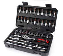 46 sets machine maintenance sets of sleeve tools mechanics combination tool metal toolbox