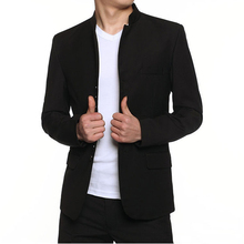 2016 Mandarin Collar Blazer Men Black Traditional Chinese Tunic Suits Stand Collar Male Slim Fit 4XL Veste Costume Homme Jacket