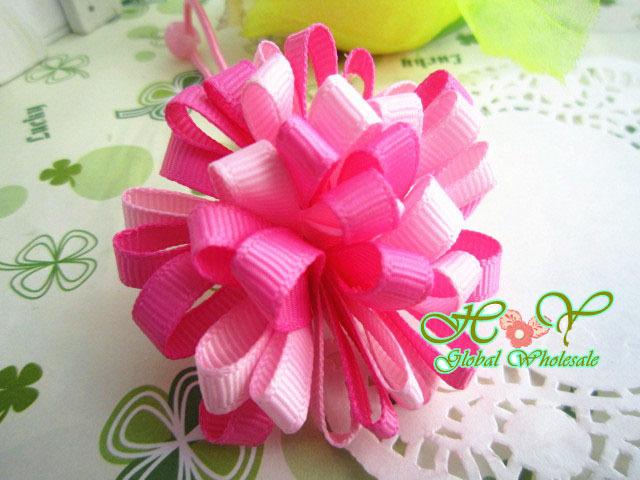 Freeshipping! New Girls/ princess Rainbow Ribbon Hair bands/Hair ties/pink / Hair Accessories/ Fashion Gifts/Wholesale(China (Mainland))