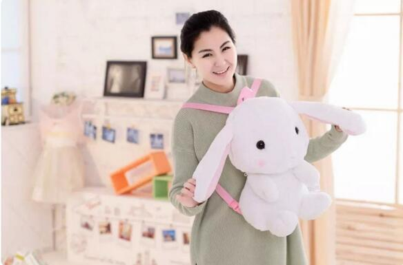 Lop Rabbit Doll Backpack PPT Cotton Plush Toy Shoulder Bag 2016 Popular Fashion Kid Bag About 60CM KML-Bag(China (Mainland))
