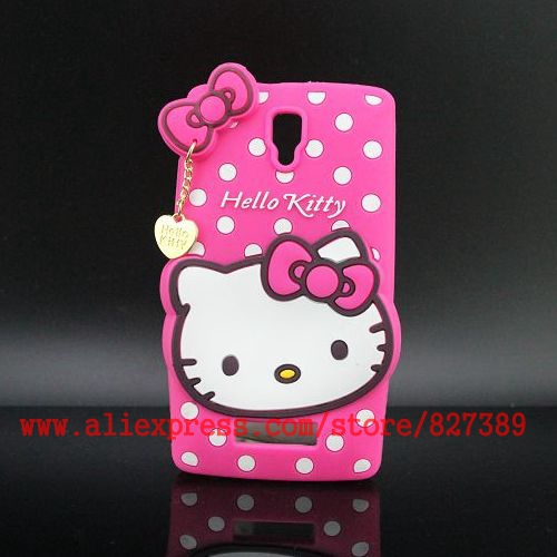 Silicon Case Pendant Hello Kitty Cartoon Cell Phone Cases Cover Protector Skin For Lenovo A 2010 A2010(China (Mainland))