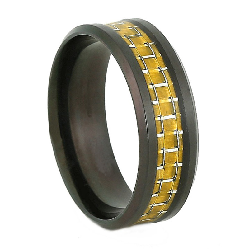 8mm Golden Carbon Fiber Inlay With IP Black Plated Stainless Steel Ring For Men Women Wedding Rings Jewelry Aros Aneis Vintage(China (Mainland))