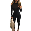 FGirl Body Jumpsuits Woman Cold Shoulder Long Sleeves Jumpsuit 2017 New Sexy Club Bodycon Jumpsuit Women