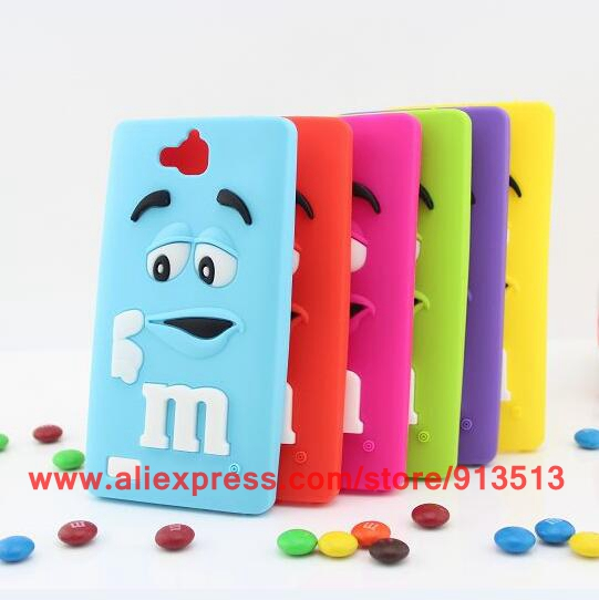NEW Cute M&M'S Chocolate 3D Cartoon Silicone Mobile Phone For Huawei Honor 3C Case Cover(China (Mainland))