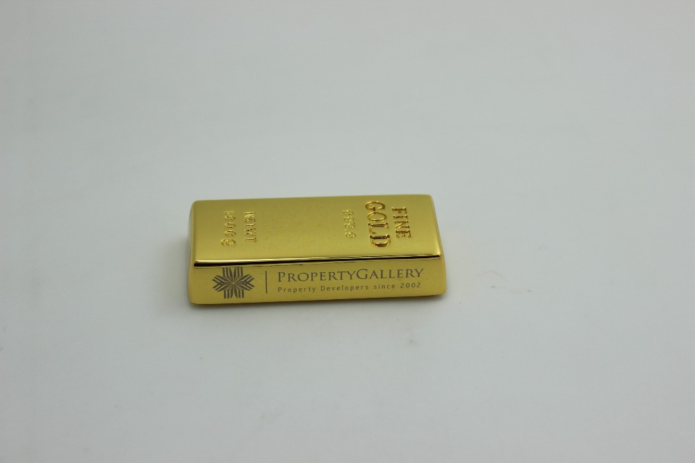 Gold Bar USB Flash Drive 16GB With Engraving Logo 2 Sides With Cardboard Box Packaging(China (Mainland))