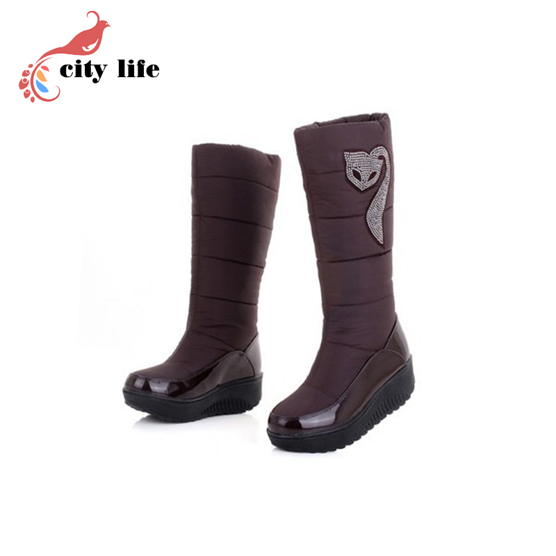 free shipping winter new arrival fashion thickening thermal wedges plush snow boots down boots medium-leg boots flat boots<br><br>Aliexpress