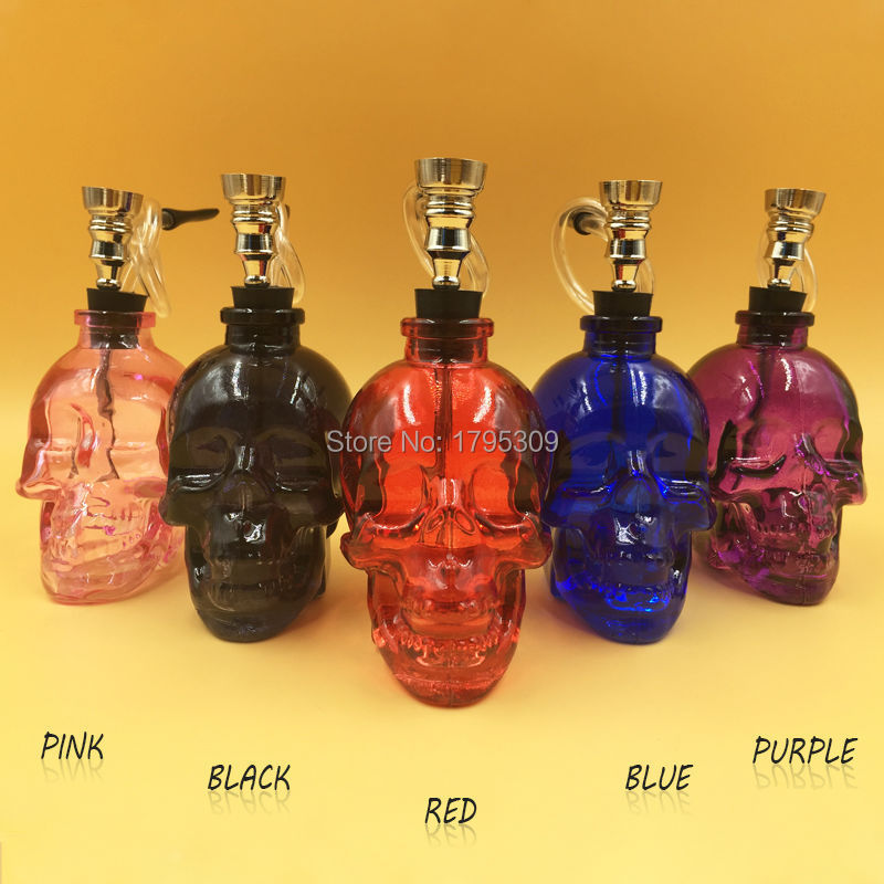 Hot sale a variety of colors of transparent skull glass pipe tobacco pipe smoking weed hookah free shipping(China (Mainland))