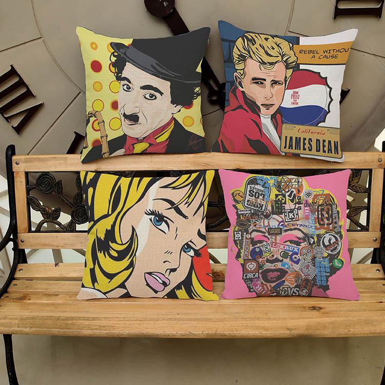 Hot Sale Obeny Cotton Linen Film Star Cushion Filler Pillow Chair Car Sofa Cushions Decorative Throw Pillows 45*45cm
