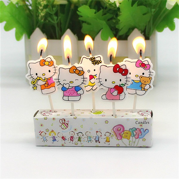 5Pcs Birthday wedding Cake Candles hello kitty Lovely Cartoon Birthday Cake Candles Assorted Colored Flames Safe Taper(China (Mainland))