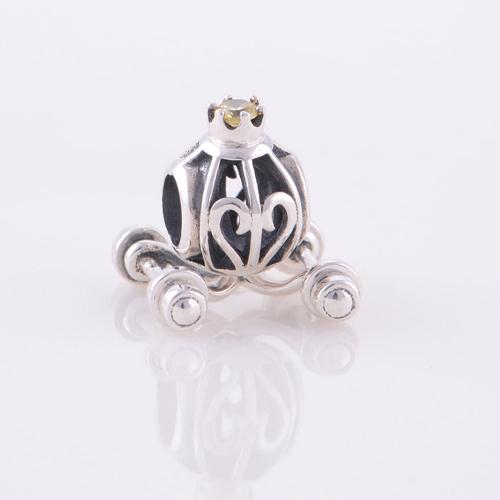 Аутентичные стерлингового серебра 925 бусины европейский шарм Cinderella ' ы тыква автомобилей цветочным узором женщин ювелирные изделия DIY подходит Chamilia браслет