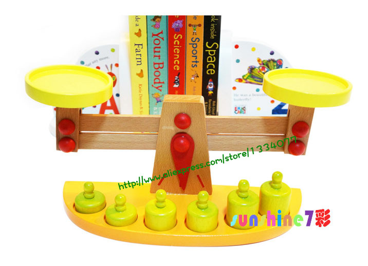 Children's wooden environmental balance educational toys Baby balance game practice to add and subtract(China (Mainland))