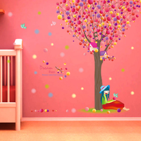 Colorful Pawpaw Dream Tree Wall Stickers Bedroom Decor PVC Happy girl Wall Paper for girls Bedroom Vinyl Wall