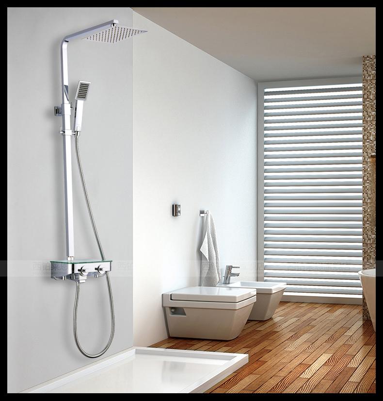 Shower square ultra thin bathroom shower set the whole lift European  leading big shower head. Whole Bathroom Showers