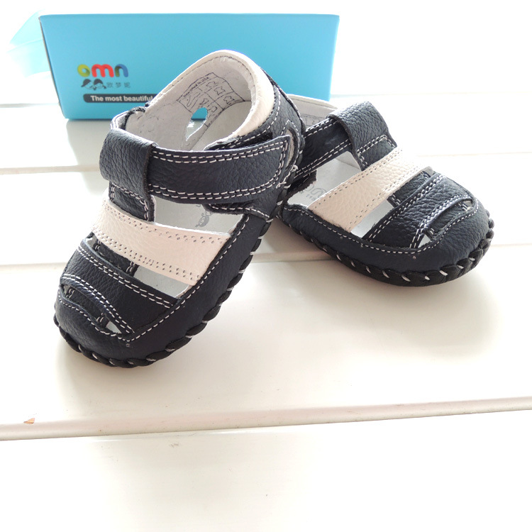 2015 summer New OMN navy white patchwork genuine leather baby boys Sandals toddler shoes for children 1609-NV<br><br>Aliexpress