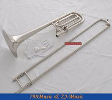 Quality New Silver Nickel Bass Trombone Bb/F Keys Horn With Case(China (Mainland))