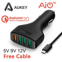 Aukey Quick Charge 2.0 54W 4 Ports USB Car Charger Adapter for Samsung Galaxy S6,S6 Edg,Edge+,Note5,and more ( 1xQC2.0+3x2.4A )