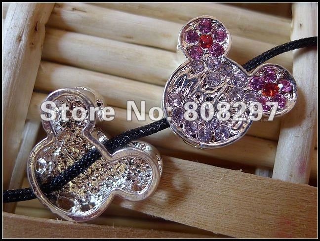 New Charm Silver Rhinestone Side Ways Sideways Mickey Mouse Connectors Beads Jewelry Finding 50pcs/lot