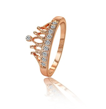 FREE SHIPPING 1PCS (CRP-013) high quality 18K Rose Gold Plated princess crown 10 PCS zircon ring Retail & wholesale
