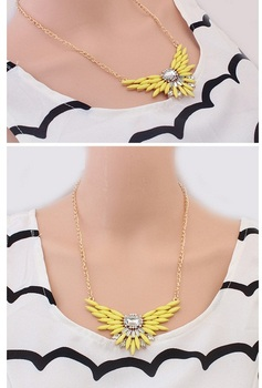 European Style Women Flying Design Candy Color Plants Chain Necklace Yellow