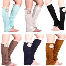 Fashion Womens Lace Leg Warmers Rose Flower Knit Boot Cuffs Winter Women Long Boot Socks Ladies Sexy Legwarmers Boot Topper(China (Mainland))