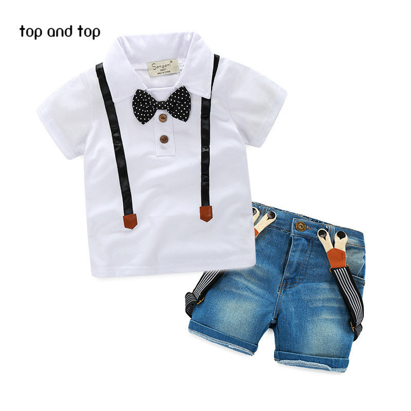 Free Shipping retail young children casual summer boys clothes dress shirt + jeans two sets of clothing boys suits(China (Mainland))