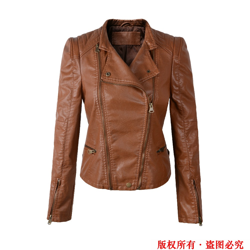 Brand Motorcycle PU Leather Jacket Women 2015 Winter And Autumn New Fashion Coat Brown Color Zipper Outerwear jacket coat HOT(China (Mainland))