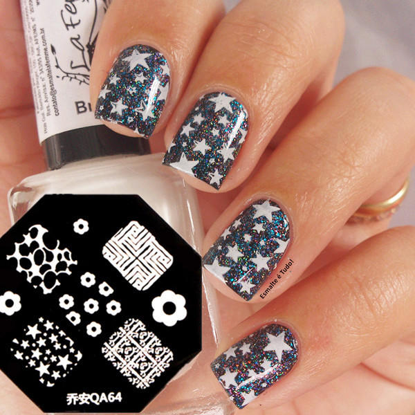 Nail Art Stamp Template Lovely Flower Star Pattern QA64(China (Mainland))