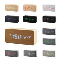 Original li&tai Motion Activated Wooden LED Clock with Temperature Display,Quality Wood USB/AAA battery Powered LED Alarm Clocks