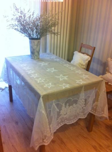 New Christmas Star lace table cloth Church Santa igloo large rectangular tablecloth 152x213cm table clothes(China (Mainland))