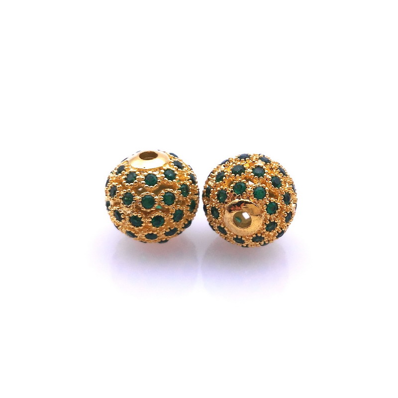 18K Gold Spacer Beads 10mm Micro Pave CZ Cubic Zirconia Round Bead For Charm Bracelet DIY For Bracelet Making Spacer Bead(China (Mainland))