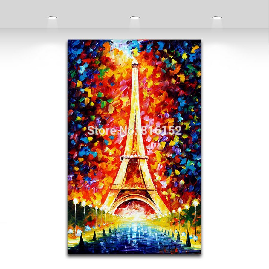 Buy 100% Hand-painted Romantic Eiffel Tower Modern Palette Knife Painting Bling Night Scene Canvas Wall Art for Home Office Decor cheap