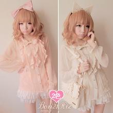 Buy Sweet lolita blouse BOBON 21 princess pink lace gentlewoman bow lace ruffle polka dot Cute sexy translucent chiffon blouse t0788 for $33.55 in AliExpress store