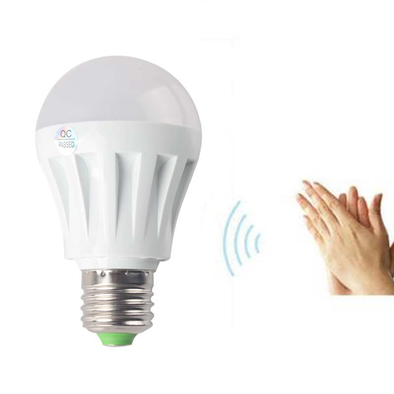 New E27 7W LED Sound and Light Control Sensor Induction Lamp Voice Control White #51036(China (Mainland))