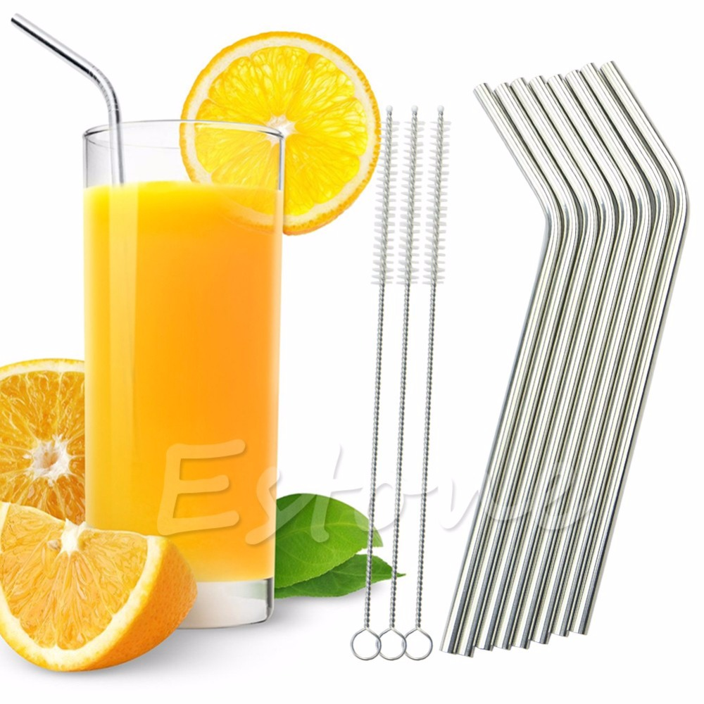 Fashion 8Pcs Stainless Steel Metal Drinking Straw Reusable Straws + 3 Cleaner Brush