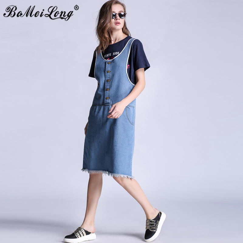 2016 Celebrity Style Casual Denim Dresses Women Single Breasted Buttons Knee-Length Jeans Overall Suspenders Vestido Clothing(China (Mainland))