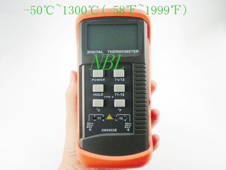DM6802B Handheld Temperature Meter Double Channel Termometro LCD Display Digital K-Type Thermocouple Thermometer with Sensor(China (Mainland))