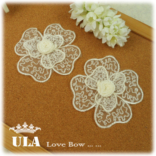 Wholesale applique 3D rose designs DIY Decoration Lace Fabric Paste Decoraive Cloth Paste 3COLOR Lace Applique 100pcs/lot