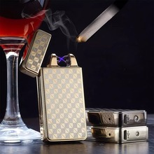 Cross double arc charging lighter USB cigarette lighter Men lighters with Gift Box(China (Mainland))