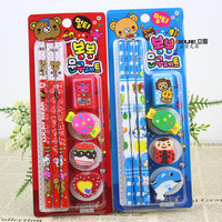 Japan and South Korea creative stationery student learning supplies pencil eraser Stationery Set children's stationery student p