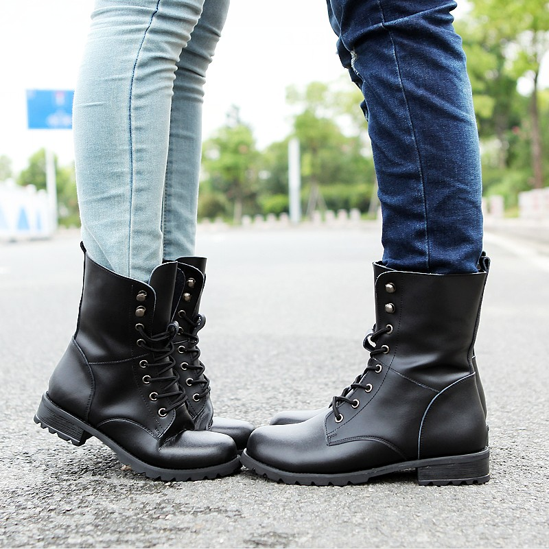 High-quality spring autumn army boots genuine leather flat punk lovers cowhide motorcycle boots british style high-layer shoes<br><br>Aliexpress
