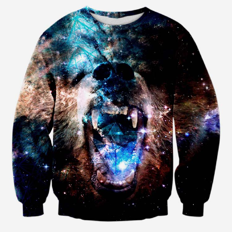 Era Dyehouse Cool 3D galaxy nigh grizzly bear shout print sweatshirt for mens women unisex hoodie animal crewneck pullovers(China (Mainland))